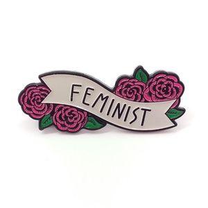 Rose Floral Feminist Enamel Pin Badge